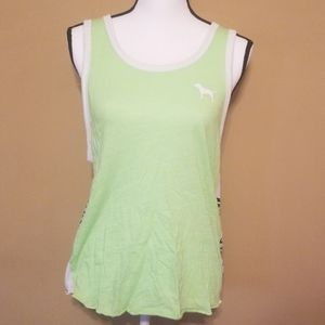 Green victoria secret pink tank top (s)